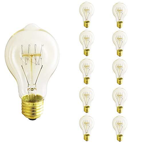 Edison Vintage Glühbirne E27 40W Industrial Retro Stil Warmweiß Dimmbar für Hängelampe Wandleuchte Pendelleuchte Filament - 10er Packs