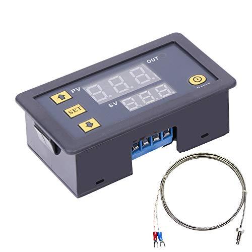 PEMENOL DC 5V 12V 24V Thermometer Temperaturregler Rot + Blau Dual LED Display Digital Thermometer mit K-Typ Thermoelement-Hochtemperatur Senor -60℃-500℃ Kühlung Heizung Steuermodul