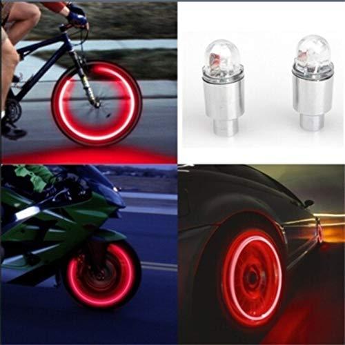 GUOLIANG Fahrrad dekorative Licht Fahrrad-Zubehör Neon Strobe LED Reifen Ventilkappen leuchtet 2 PCS, for Rennrad oder Mountainbike