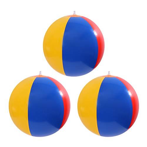 Toyvian Pelota de deporte coloreada arco iris inflable de las bolas de playa para el partido de las piscinas (color al azar) - 3 PC