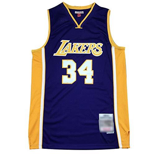 CLKJ # 34 Lagos O'Neal Men's Basketball Jerseys, Chaleco Retro, Secado rápido de la Camiseta de la Camiseta de la Competencia Transpirable (S-2XL) Purple B-L