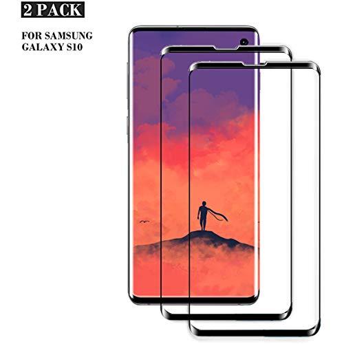 Panzerglas für Galaxy S10 Schutzfolie [Fingerabdruck-ID unterstützen][Blasenfreie],2 Stück[Einfacher Montage] 9H-Härte Schutzfolie für Samsung Galaxy S10