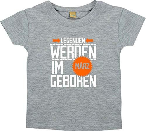 Shirtstown T-SHIRT ENFANTS légendes être im März né - gris, 18-24 Monate