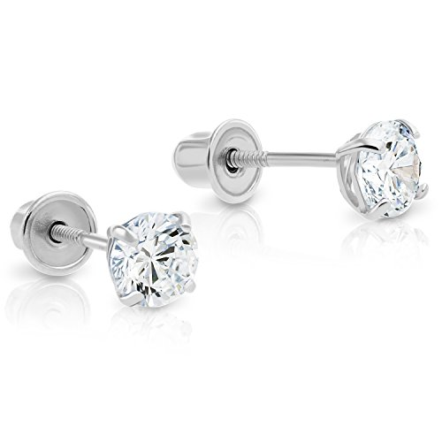 14k White Gold Solitaire Cubic Zirconia CZ Stud Earrings with Secure Screw-backs (4mm)
