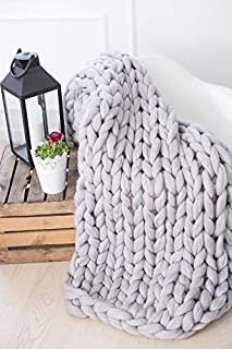 Chunky knit blanket, Knit blanket, Giant throw, Arm knitting, Chunky yarn, Merino wool, Thick yarn, Home decor, Boho, Christmas present gift