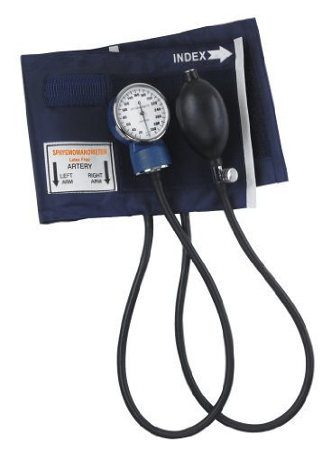 Mabis Thigh Aneroid Sphygmomanometer Manual Blood Pressure Monitor with Calibrated Nylon Adult Size Thigh Cuff Blue, 1 Count