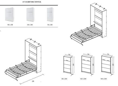 ELBM LIT ESCAMOTABLE 140 X 200 Blanc +SOMMIER + Matelas SPÉCIAL : Pack Complet