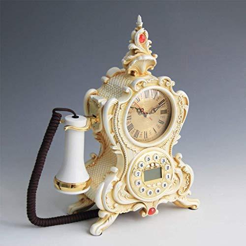 LDDZB Teléfono europeo retro artesanal, antiguo hogar decoración fija (color: bronce color) (color: bronce color) (color: bronce color) (color: blanco perlado)