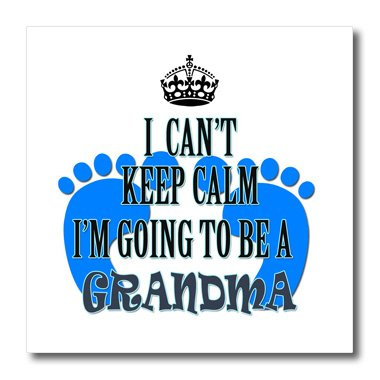 """3dRose ht_218174_1 I Cant Keep Calm I'm Going to be a Grandma Baby Boy Funny Saying Iron on Heat Transfer for White Material, 8"""" x 8"""""""
