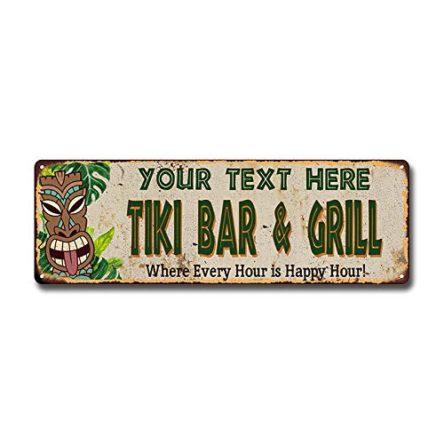 Personalized Tiki BAR & Grill Sign Hut Decor Signs Bars Grill Decorations Hawaiian Accessories Patio Beach Surfboard Wall Art Plaque Vintage Tin Gift 6 x 18 High Gloss Metal 206180040001