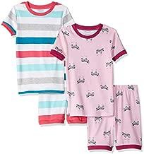 Amazon Essentials Girl's 4-Piece Sleeve Short Pajama Set, Zebra Stripe, X-Small