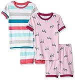 Amazon Essentials Girl's 4-Piece Sleeve Short Pajama Set, Zebra Stripe, Large