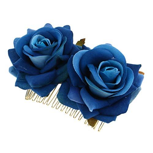 Handgefertigt Hochzeit Haarkämme Blumen Haarnadeln Haarblumen Haarschmuck - Blau