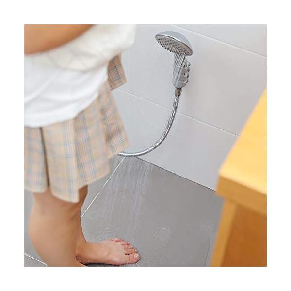 Soporte de ducha, 2 Piezas Ajustable Soporte de Montaje en Pared Ventosa de Silicona Sin Necesidad de Taladro para…