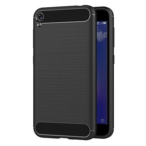 MaiJin Hülle für Asus ZenFone Live ZB501KL (5 Zoll) Elastisch Stylisch Soft Flex TPU Silikon Handyhülle Schutz vor Stürzen & Stößen Schutzhülle (Schwarz)