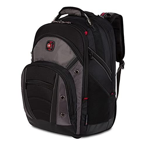 Wenger Luggage Synergy Padded Wheeled Laptop Bag with Trolley Handle, Black/Grey, 16-inch