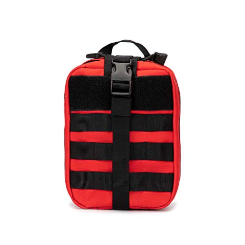 Jipemtra Tactical First Aid Bag MOLLE EMT IFAK Pouch Rip-Away Trauma First Aid Responder Medical Emergency Utility Bag Military Tactical Pouch (Red)