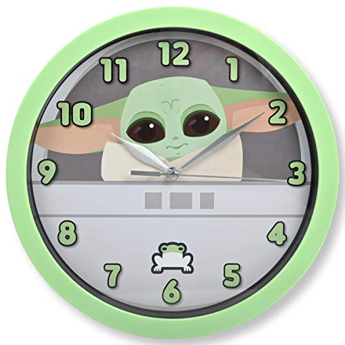 Accutime Watch Star Wars Clock – Star Wars Mandalorian Kids Wall Clock – Baby Yoda Wall Clock for Adults and Kids – Ideal for Kitchen, Kids Room, Bedroom, Office
