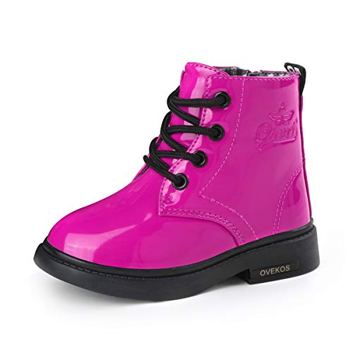 WYSBAOSHU Kids Boots Girls Boys PU Waterproof Ankle Boots for Toddlers Little Big Rose 7