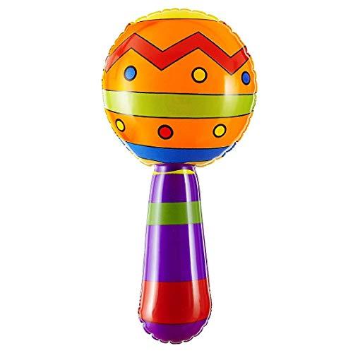 Amakando Coloridas Maracas de Fiesta inflables / 20cm / Instrumento Musical Accesorio para Disfraz Sudamérica / Ideal para carnavales al Aire Libre y Fiesta Hawaiana