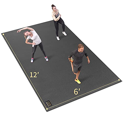 GXMMAT Extra Large Exercise Mat 12'x6'x7mm, Ultra Durable Workout Mats for Home Gym Flooring, Shoe-Friendly Non-Slip Cardio Mat for MMA, Plyo, Jump, All-Purpose Fitness