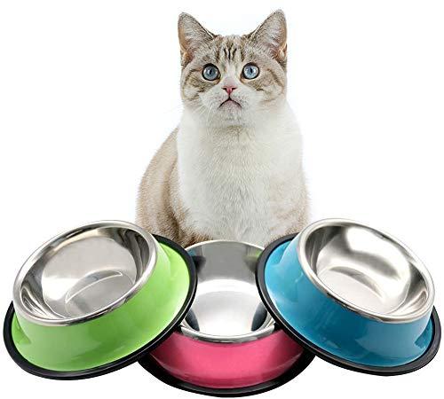 Ciotola per Gatti, 3Ciotola per Animali Domestici, 3 Ciotole per Cani in Acciaio Inox Con Tappetini Antiscivolo, Adatta per Cuccioli e Gatti