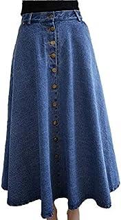 Falda Vaquera con botón, Falda de Mujer de algodón de Cintura Alta, Falda Larga de Moda de Verano