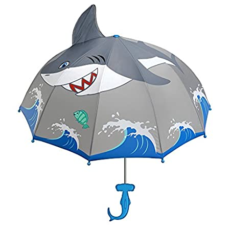 Shark Grey Umbrella for Boys w/Fun Hammerhead Handle Image