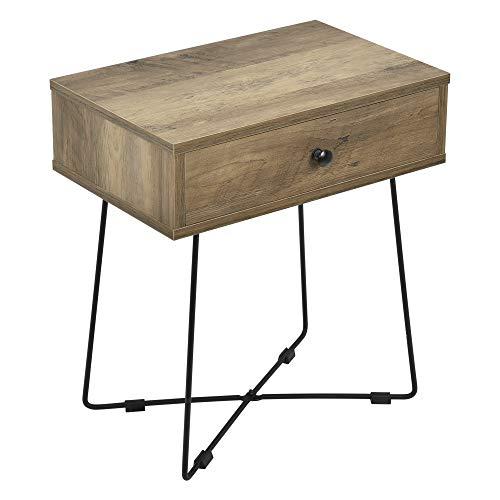 [en.casa] Mesa de Noche con cajón 50,5 x 45 x 29,5 cm Mesa Auxiliar Consola Cuadrado Mesita de...