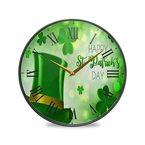 Feliz Navidad Verde Arte Reloj de Pared Silencioso Decorativo Relojs para Niños Niñas Cocina Hogar Oficina Escuela Decoración