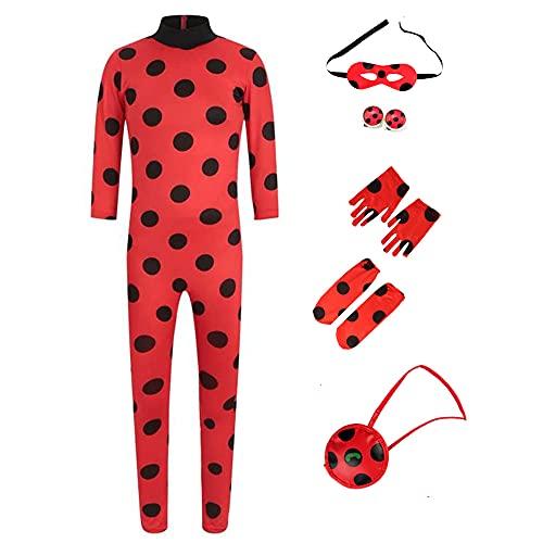 Kinder Festlich Party Overall, Mädchen Marienkäfer Ladybug Cosplay Fasching Kostüm Jumpsuit für Halloween Karneval Weihnachten (Ladybug, M(Gr.122/128))