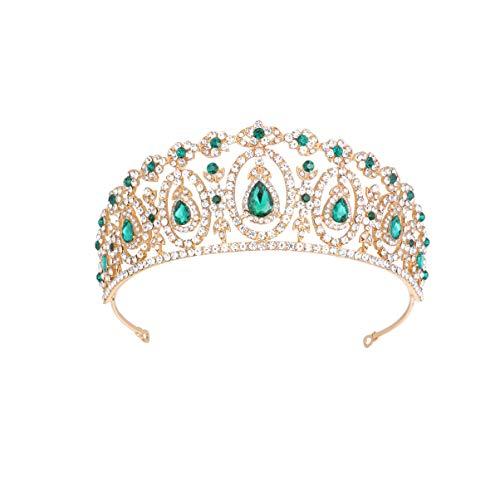 Lurrose Corona con Incrustaciones de Diamantes de Imitación Tiara Barroca Boda Nupcial...