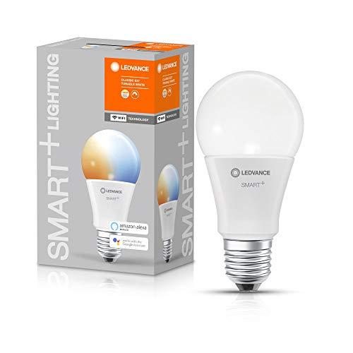 LEDVANCE Smarte LED-Lampe mit WiFi Technologie, Sockel E27, Dimmbar, Lichtfarbe änderbar (2700-6500K), ersetzt Glühlampen mit 60 W, SMART+ WiFi Classic Tunable White, 1er-Pack