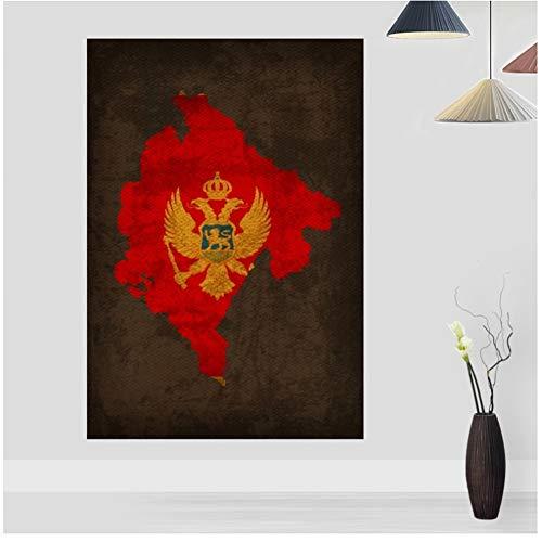 Mode huis abstract canvas schilderij afdrukken Retro land vlag kaarten Poster Montenegro vlag kaart Canvas Print Home Decor Wall Art Decor-40 x 60 cm geen Frame