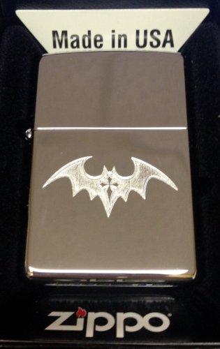 Zippo Custom Lighter - Dark BAT with Gothic Cross Tattoo High Polish Chrome Rare!