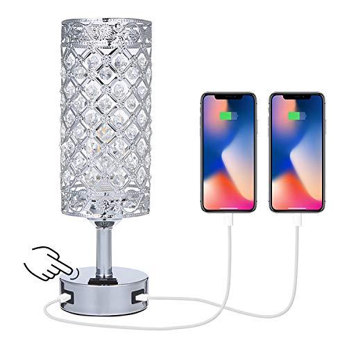 Kristall Tischlampe Tischleuchte mit 2 USB-Anschlüssen & Bebührungssensor,Tomshine Nachttischlampe,Tischleuchte mit K5-Kristall für Wohnzimmer,Schlafzimmer