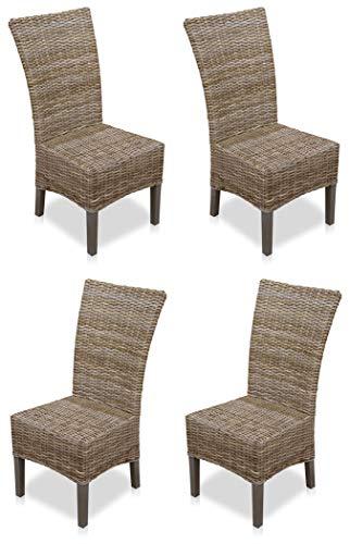 KMH®, 4er Set Esszimmerstühle aus Rattangeflecht in grau (#400208)