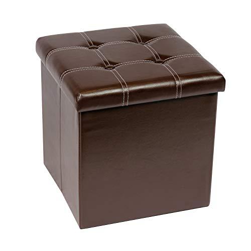 Bonlife sitzhocker mit stauraum Sitzbox Faltbare Truhe Aufbewahrungsbox mit Deckel Kinder Polster Hocker Sitzbank mit Schuhregal Braun 38 x 38 x 38 cm