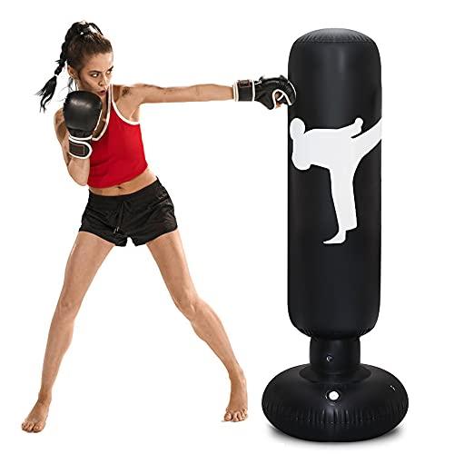 rolovee Boxsack Kinder Standboxsack-160CM Boxsack Stehend, Erwachsene Kinder Standboxsack für Sofortiges Zurückprallen zum Üben von Karate , Taekwondon Für Jugendliche Erwachsene (Schwarz)