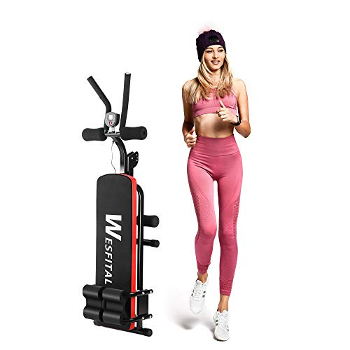 Wesfital Abdominal Trainer, Abdominal Workout Machine, Entire Body Workout Equipment for Thighs, Glutes, Sit-ups, Home Abs Trainer with 3 Difficulty Levels, Digital Display (Red, Black)