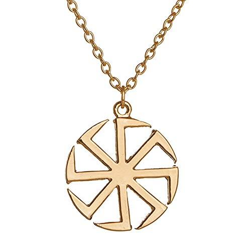Eslavic Kolovrat - Gargantilla de amuleto pagano para sol, talismán, cordón de cera religioso, collar para la fecha, cumpleaños, mujer, hombre y niña regalo