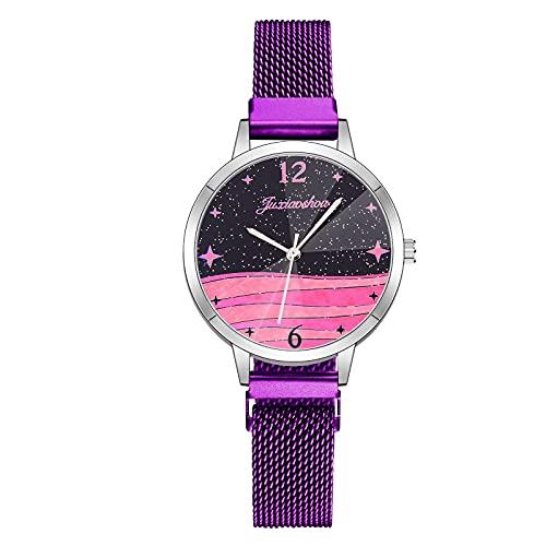 CXJC Reloj Deportivo en 7 Colores. Moda Milán Reloj con aleación. Creative Ocean Horizon Star Watch (Color : C)