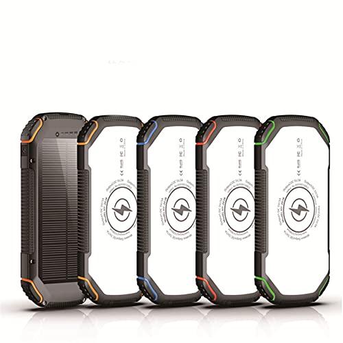 ZXD Banco de energía Solar 15W Carga rápida 20000mAh, Carga inalámbrica Solar de Tres Pruebas Fuente de alimentación móvil de Gran Capacidad,Azul