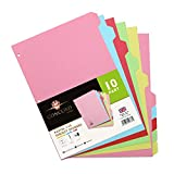 Pukka Pad Concord 10 Part Dividers - 1 Pack of 10 Tab Set, 3-Ring Binder Compatible, 8 1/2 x 11 Inches - Pastel Colors