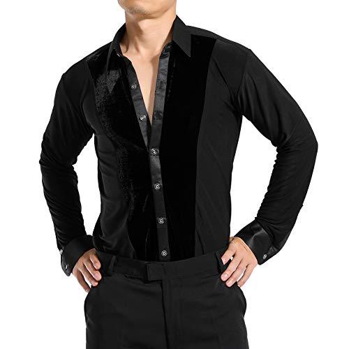 Men Dance Velvet Shirt Ballroom Modern Salsa Samba Smooth Latin Top Dancewear Black