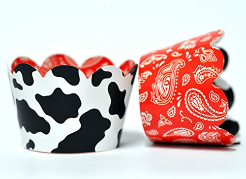 Cow and Bandana Cupcake Wrappers for Kids Birthday Parties, Baby Showers, Farm themed Bridal Showers/Weddings, and School Events. Set of 24 Reversible Cow Print to Red Bandana pattern Cup Cake Holder