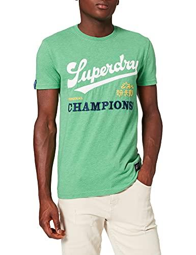 Superdry M1010558a Vintage Varsity EMB tee, Bright Cirrus Green Grit, M para Hombre