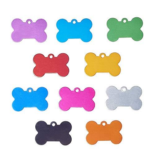 PH PandaHall 30pcs 10 Colors Bone Shape Pet ID Tag Charm Personalized Aluminium Blank Pendants for Dogs Cats Mixed Colors