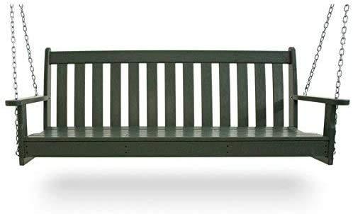 Jardín con teca hecha de columpios | Banco Swift | Silla colgante | Viento y establo | Naturaleza de pulido,Green