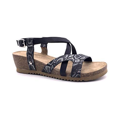 Angkorly - Zapatillas Moda Sandalias Mules Correa de Tobillo Mujer Multi-Correa Piel de Serpiente Corcho Plataforma 7.5 CM